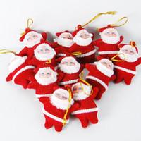 Wholesale Santa Claus Tree Ornaments - 6Pcs Practical Red Mini Santa Claus Ornaments Decorations Plastic Hanging Christmas Tree Pendant Party Festival Supplies