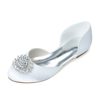 Wholesale Ivory Satin Flats Shoes - 2015 Rhinestone Crystal Satin PU Flat Heel Women's Prom Party Evening Dress Wedding Bridal Shoes In Stock 9872-14