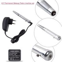 Wholesale Permanent Makeup Tattoo Set - K17 New Permanent Makeup Tattoo Eyebrow Pen Machine Set Make up Kits Silver