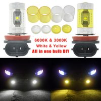 2pcs Car H8 H11 30W Dual Color Car LED Proiettore Nebbia Driving Lights Bianco Lampada gialla