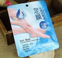 bambu sirkesi ayak maskeleri toptan satış-ROLANJONA ayak maskesi Süt ve Bambu Sirke Ayaklar Maske cilt Soyma Peeling Ölü Cilt Kaldırmak için Ayak bakımı 38 g / çift