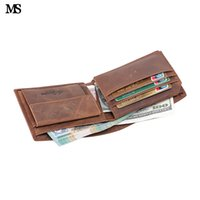 tarjetas de visita de las ventanas al por mayor-Ms Men Business Real Crazy Horse Leather Hombres Cerrojo Cartera Bifold Money Clip Card Recibo Titular Id Ventana Monedero Pocket Q328