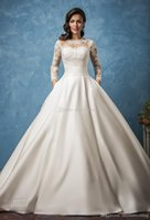 Wholesale Semi Sheer Sleeve Embroidery - pockets royal train satin vintage wedding dresses 2017 amelia sposa bridal long sleeves illusion jewel semi sweetheart neckline wedding gown