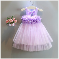ingrosso neonata bella della principessa del merletto chiffon-2016 Estate Cute Girls Suspender Dress Baby Girl Pizzo Garza Principessa Abiti Per bambini Flower Party Dress Lovely Child Performance Prom Dress