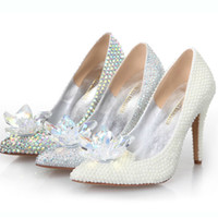Wholesale Sheepskin High Slippers - Cinderella Crystal Shoes High Heeled Women Stunning Glasses Slipper Bling Silver Rhinestone Bridal Wedding Shoes Prom Party Pumps