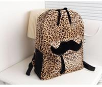 Wholesale Leopard Print Backpack Vintage - New 2015 Fashion Women Backpack beard Vintage Leopard printing backpack PU leather Backpack school bags for teenagers rucksack