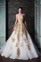Wholesale Celebrity Wedding Ball Gowns - 2016 Gorgeous Gold And Ivory Wedding Dress Ball Gown Vintage Sweetheart A Line Applique Bridal Gowns Celebrities Wedding Dresses Prom Dress