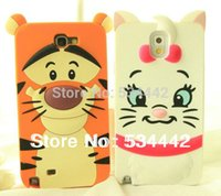 Gros-3D Cartoon Cat Tiger Monsters animaux Sulley Marie / Alice chien slinky Housse en silicone pour Samsung Galaxy S3 S4 Note2 Note 3