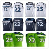 Maglie Karl-Anthony Towns 32 mens Camicie da basket 2018 New Andrew Wiggins 22 Timberwolves 23 Jimmy Butler colore Taglia bianco blu verde