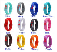 Wholesale Silicone Jelly Candy Bracelet Watch - 2015 Fashion rectangle Bracelet boys girls Touch LED Watch Sport digital men women unisex jelly candy rubber silicone wrist Watch wristwatch