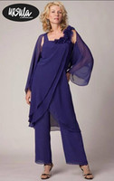 Wholesale Tunic Jackets For Women - Blue Mother's Formal Chiffon Tunic Pant Suits For Wedding Party vestidos de madrinha Women Mother of the Groom Suits with Wrap Jacket