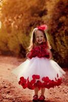 küçük kırmızı elbise düğün toptan satış-Pinterest Popüler Tutu Çiçek Kız Elbise Kolsuz Çocuk Giyim Kırmızı Aplike Gelinlikler Kate Çay Boyu Küçük Kız Çiçek Elbise