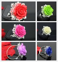 Wholesale Wedding Serviette Rings - New 60pcs lot Antique 6 Colors Mixed Resin Napkin Ring Serviette Holder For Wedding Party Banquet Adornment