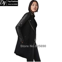 Wholesale Quilted Trench Coat - Fashion 2017 new design women's lambs wool stitching Girls long sleeve coat quilted leather trench coat