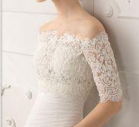 Wholesale Bateau Bolero - 2015 New Custom Made Amazing Bateau Lace Bridal Bolero with Half Long Sleeves Classic Lace Bridal Jacket Wrap Bridal Accessory