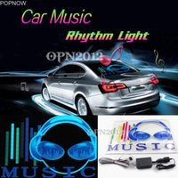 müzik aktif ışıklar araba toptan satış-Popnow 45x30 cm Araba Sticker LED EL Ses Aktive Ekolayzer Glow Flaş Paneli Çok Renkli Işık Müzik Ritim LED Flaş Işık # 2295
