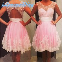 Wholesale Red Empire Waist Cocktail Dresses - Hot Sales Pink Short Prom Dresses With Pearls Appliqued Empire Waist Bare Back Cocktail Party Gowns Teens Homecoming Dresses 2015