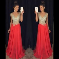Wholesale Full Sparkle Prom Dresses - Sparkling Prom Dresses 2016 V Neck Beads on Top Sexy Back A Line Chiffon Celebrity Gowns Full Length Formal Evening Party Dresses BA0827