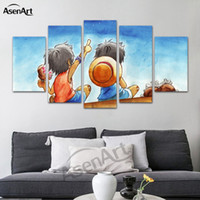 Wholesale Japanese Cartoon Art - 5 Panel Hanging Japanese anime Canvas Art Room Posters Prints Painting for Living Room Dining Room Decor Framed Ready to Hang Dropshipping