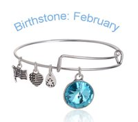 Wholesale Alex Ani Set - New Arrival Hot Alex and Ani Charm Wiring Bracelet Birthstone Crystal Pendant Months Birthstone 2015 New hot sale expandable bangles