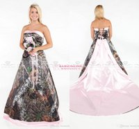 Wholesale Removable Gold Caps - Vintage Strapless 2017 Camo Wedding Dresses Forest Satin Pink Edged Wedding Gowns with Lace Up and Removable Train Plus Size Bridal Gowns