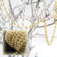 Wholesale wedding centerpieces pearls - New 33ft Ivory Pearl Strands Garland Spool 8mm Beads Wedding Centerpiece Decoration wedding centerpieces two color beige and white