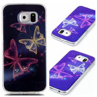 Wholesale Butterfly Light Cover - Tower Butterfly Case Cover For Samsung Galaxy S6 edge plus S5 S4 S6edge Blue-ray Laser light Soft TPU Back Case Cover