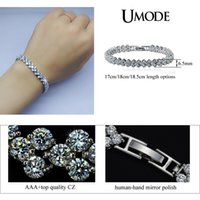 ashion Jewelry Bracciali UMODE Fashion Brand Design Roma AAA + Cubic Zirconia Crystal Stones Pave White Gold Bracciale tennis Colo per Wome ...