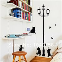 Wall Sticker Home Decor Lamp Wall Stickers Vintage Cat Home Decor Sticker murale per bambini del fumetto dell'uccello Photo Wall Paper Room Decoration