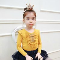 Wholesale Wholesale Beaded Top Clothes - autumn princess girls shirt long sleeves cute bow beaded lace fly sleeve T-shirt children princess tops kid clothing A7048