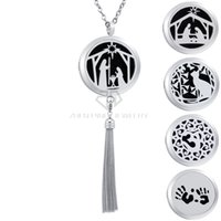 Wholesale Tassel Fringe Necklace - Stainless Steel OM 30mm Silver Essential Oil Tassels Diffuser Locket Pendant Aromatherapy Metal Fringe Dangle Perfume Necklace