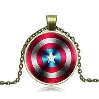 Wholesale Wholesale Logo Sweaters - The Avengers Captain America logo Pendant Statement Necklaces Time gemstone pendant necklaces sweater chain Free DHL W879