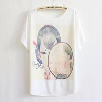 Wholesale Loose Batwing China - free shipping classical china lady print t-shirt big size loose women cotton t shirt LBZ10