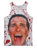 Wholesale American Psycho - 2014 2015 Hot Fashion Women Men Vest Unisex Vest Couples Tank Tops Underwear American Psycho 3D Print Crop Sleeveless Garment Stretchy #V033