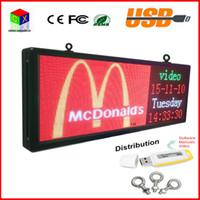 pantallas led al por mayor-Signo LED a todo color RGB 15''X40 '' / soporte de texto de desplazamiento Pantalla de publicidad LED / imagen programable video interior Pantalla LED
