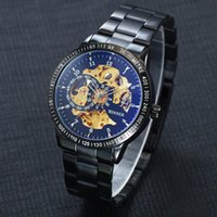 Wholesale Kinder Watch - Fashionable Winner men's steel hollow automatic mechanical watches 5 kinds of transparent bottom cover design luxury business watches