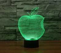 ingrosso l'umore della mela-Oggettistica per la casa, Lampada per segnaletica in acrilico 3D, Lampada da tavolo moderna da soggiorno a LED, Mini USB Mood Lamp Bedroom, Colorata, Apple