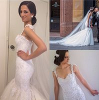 Wholesale Organza Sweetheart Mermaid Wedding Dress - Custaom Made Sweetheart Lace Applique Crystal Beaded Organza Luxury Trian Mermaid Wedding Dresses With Covered Button Back Lace Brial Gowns