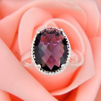 Cheap Wholesale 2pcs / lot Oval Fire Fuchsia Amethyst Gems .925 Sterling Silver Flower Ring Mexique American Australia Weddings Jewelry Gift