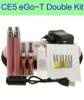 Wholesale Ego Ce5 Double Starter Kit - eGo CE5 Double Zipper case ego case electronic cigarette starter double kit CE5 atomizer ego kits