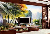 peinture de fond de paysage achat en gros de-Personnes paysage peinture fond mur beaux paysages fond d'écran