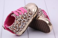 Wholesale Wholesale Leopard Crib Shoes - Kids Baby Girl Infant Toddler Shoes Leopard Gold Crib Shoes First Walking Sneaker