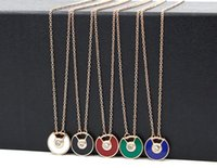 Wholesale Imported Roses - New saucer fan-shaped semi-open color diamond imported powder shell color black necklace female fashion titanium steel rose gold necklace