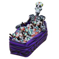 Wholesale Plastic Coffins - Large Outdoor Inflatable Skeleton Coffin Drink Cooler Ice Buckets PVC Inflatable Toys Halloween Party Decorations Supplies