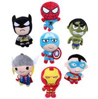 Wholesale Iron Man Doll Toy - The Avengers 2 Plush Toys Iron Man Superhero Spiderman Thor Captain America 20CM Q Version Stuffed Dolls Soft PP Cotton Movie Action Figures