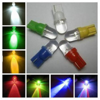 Wholesale Green Ford Focus - 500pcs Car styling LED light 194 W5W T10 1 led Wedge round LED car Bulbs Lamp Car Indicator Light Bulbs white blue red yellow green
