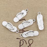 Wholesale Silver Flip Flop Bracelet - 200pcs Charms flip flops 21*7mm Antique,Zinc alloy pendant fit,Vintage Tibetan Silver,DIY for bracelet necklace
