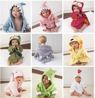 Wholesale Green Bath Towel - Retail-10 Designs Hooded Animal modeling Baby Bathrobe Cartoon Baby Towel Character kids bath robe infant bath towels