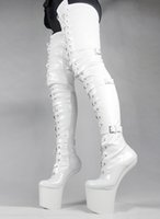 bottes en cuir verni blanc femmes achat en gros de-Wonderheel HOT femmes bottes de mode en cuir blanc PU cuissardes appr. Boucles de 20 cm sans talon verni bottes d'entrejambe brillantes