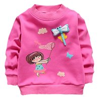 Wholesale Korean Caught - Wholesale- Korean Cute Cartoon Pattern Pullovers Hoodies Girls Long Sleeve Funny Little Girl Catching Dragonflies Sweatshirts Autumn 2017